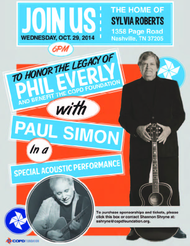 COPD Foundation Hosts Benefit Concert and Tribute to Phil Everly Featuring Paul Simon